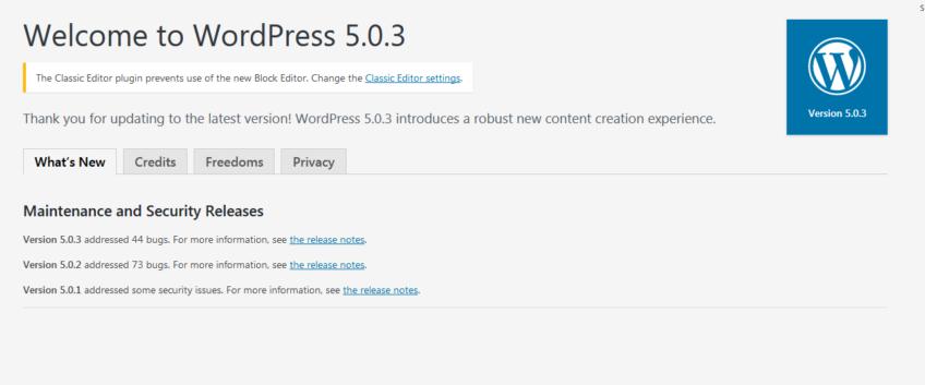 WordPress Version 5.0.3 was Released on January 9, 2019