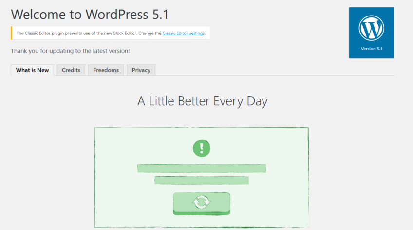 "WordPress 5.1 ""Betty"" was released on February 21, 2019."