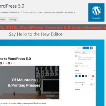 "WordPress Version 5.0 ""Bebo"" was Released on December 6, 2018 – Your Website Need an Update."