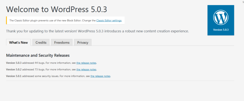 WordPress Version 5.0.3 was Released on January 9, 2019